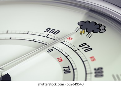 3D illustration of a barometer with needle pointing a storm pictogram, horizontal image