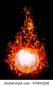 3D illustration. Baseball on fire flames isolated on black background.