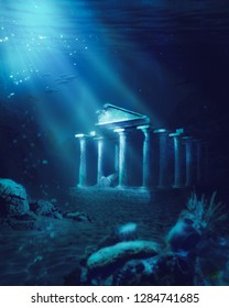 3D illustration based on the legend of the lost city of Atlantis, rendering