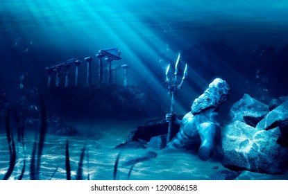 3D illustration based on the legend of the lost city of Atlantis, underwater city, rendering