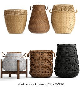 3D illustration basket rattan on a white background