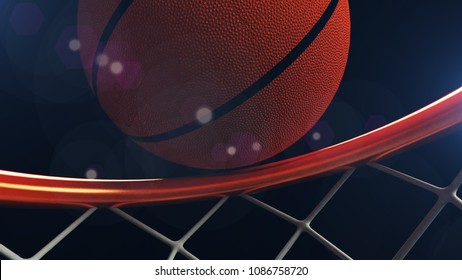 3D illustration of Basketball ball falling in a hoop.