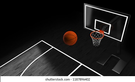 3D illustration of Basketball hoop in a professional basketball arena.
