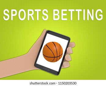 3D illustration of basketball on the screen of a cellulr phone held by hand, isolated on green gradient, with the script SPORTS BETTING on the background.