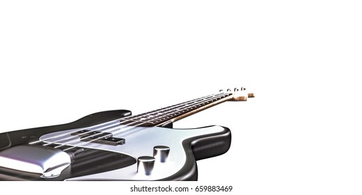 3d illustration of a bass guitar isolated on white background