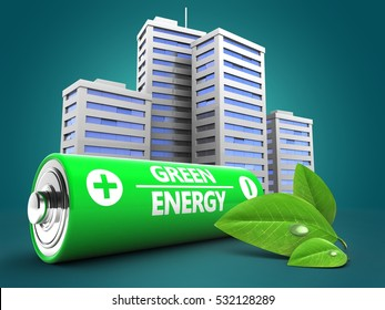 3d illustration of battery over blue background with city and leaf