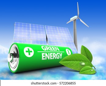 3d illustration of battery over sky background with solar and wind energy and leaf