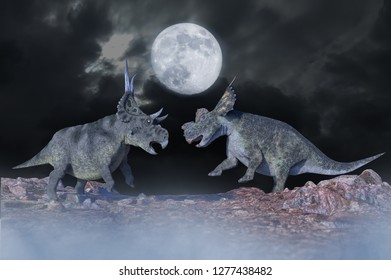 3D Illustration of battle of dinosaurs render 3d