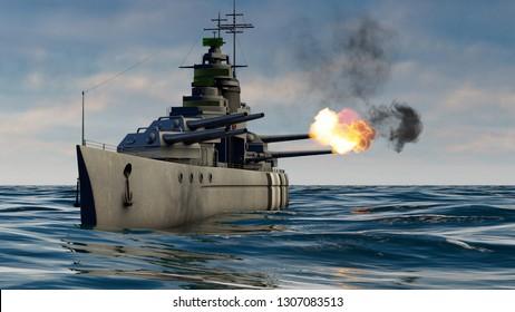 3d illustration of a battleship firing with heavy caliber guns