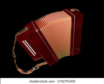 3d illustration of bayan chromatic button accordion developed in Russia in the early 20th century and named after the 11th-century