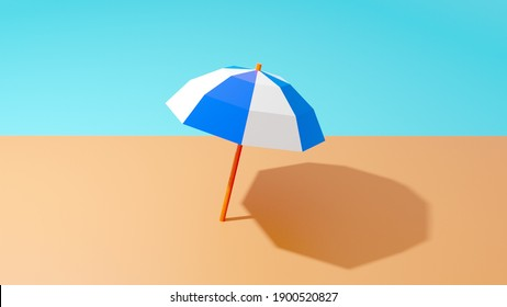 3D illustration of beach umbrella in the sun