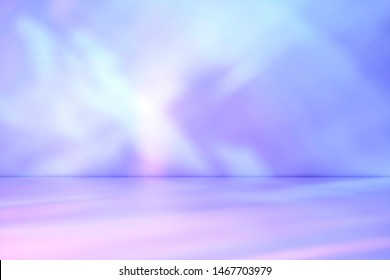 3D Illustration. Beams of muted purple and blue light shining on a wall at an oblique angle throwing a diagonal pattern for a design template