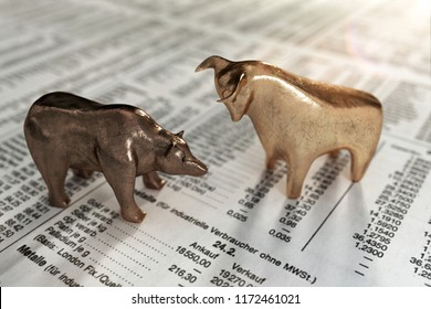 3D Illustration Bear and bull stock prices