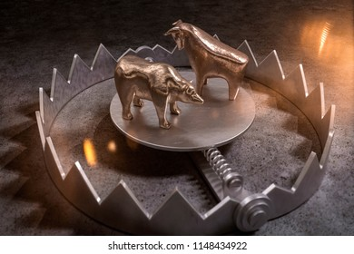 3d illustration bear trap stock market