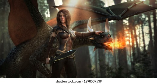 3D illustration of a beautiful fantasy woman with her pet dragon