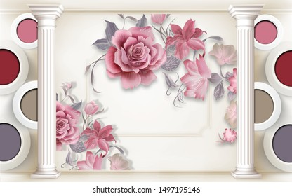 3D Illustration of beautiful flowers colorful circles and white rings, pillars 3D Wallpaper-ILLUSTRATION
