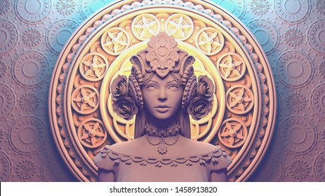 3d illustration of a beautiful girl in a fantasy crown standing against a ornament in oriental style. Monochrome rendering of a stylized portrait of medieval empress with decorative helmet with roses.