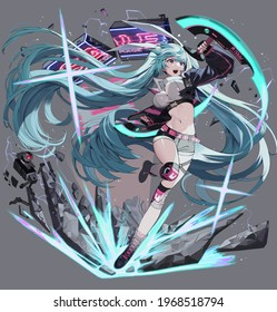 3D illustration of beautiful girl with long blue hair