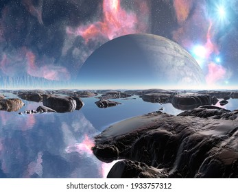 3D illustration of a beautiful and inspirational science fiction landscape with a moon, mountains, and water