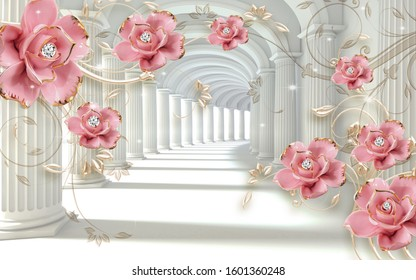 3D Illustration of beautiful pink flowers 3d background 3D Wallpaper-ILLUSTRATION
