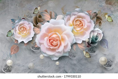 3d illustration of beautiful roses for wallpaper. abstract art wallpaper
