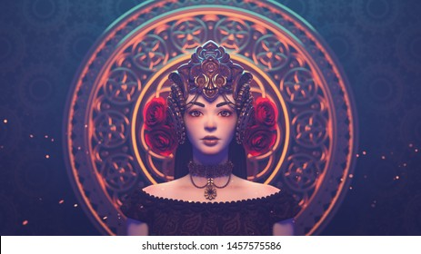 3d illustration of a beautiful sad brunette girl in a fantasy crown standing against a golden ornament in oriental style. Close-up portrait of medieval empress with decorative golden crown with roses
