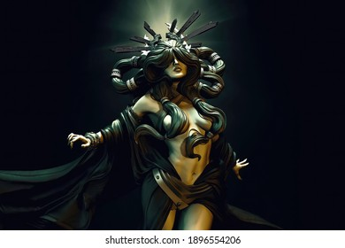 3D Illustration of a beautiful sexy lady. Computer generated image.