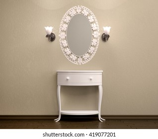 3d illustration of beautiful white dressing table with a carved frame for a mirror