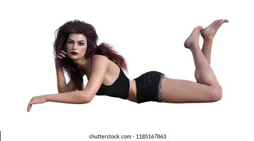 3d illustration of a beautiful woman with dark purple tinted hair laying on a white background.