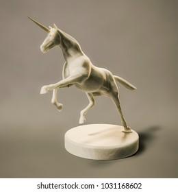 3d illustration of a beautyful marble unicorn figure