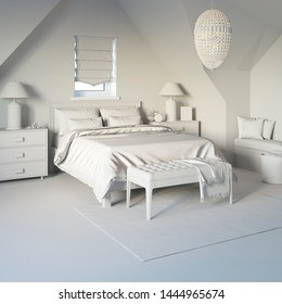 3d illustration. Сozy bedroom in the attic in white computer stuff