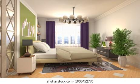 3d Illustration of the bedroom interior