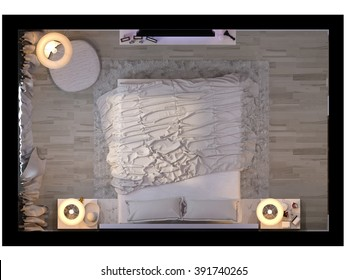 3d illustration of bedroom interior design in a modern style in top view. Bedroom in beige colors with purple accents on the wall opposite the bed side table with a console TV.
