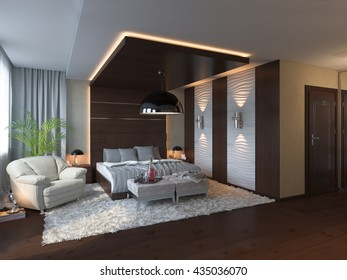 3d illustration of bedroom interior design in a contemporary style.