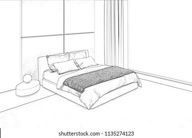 3d illustration. Bedroom sketch