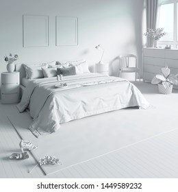 3d illustration. The bedroom with tray on the bed in white computer stuff