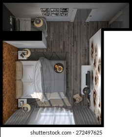 3d illustration of bedrooms in a Scandinavian style. Top view