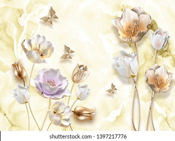 3d illustration, beige background, light gilded tulips and fabulous flowers, gilded butterflies