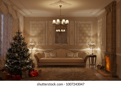 3d illustration of beige classic living room with fireplace in the evening