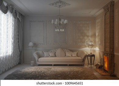 3d illustration. Beige classic living room with fireplace becomes a white render