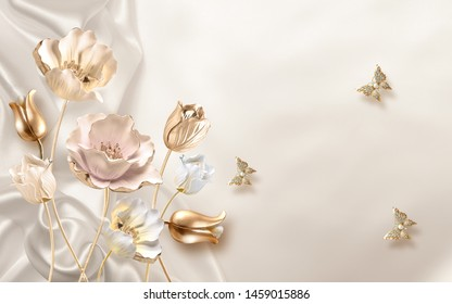 3d illustration, beige silk background, white, beige and golden roses, three golden butterflies