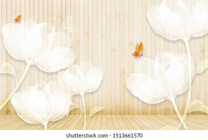3d illustration, beige wooden wall and floor, white translucent abstract flowers, two bright orange butterflies