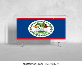 3d illustration of Belize Flag on Modern Billboard. Flag of Belize for advertising, award, achievement, festival.