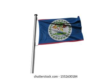 3d illustration of Belize Flag waving. National Flag of Belize on Pole.