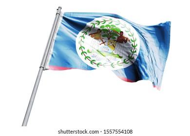 3d illustration of Belize Flag waving. National Flag of Belize on flag pole for Independence day.