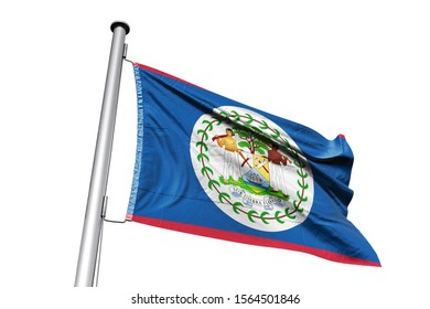 3d illustration of Belize in White Background. Belize Flag on pole for Independence day. The symbol of the state on wavy cotton fabric.