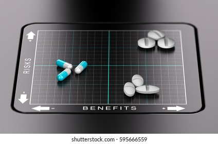 3D illustration of a benefits versus risks matrix with pills and tablets positioned on it. Evaluation of drugs, healthcare concept
