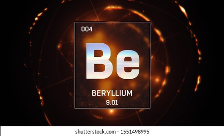 3D illustration of Beryllium as Element 4 of the Periodic Table. Orange illuminated atom design background with orbiting electrons. Design shows name, atomic weight and element number