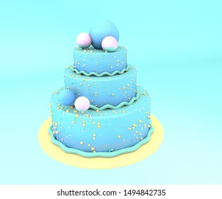 3d illustration.   Big cake on blue background.
