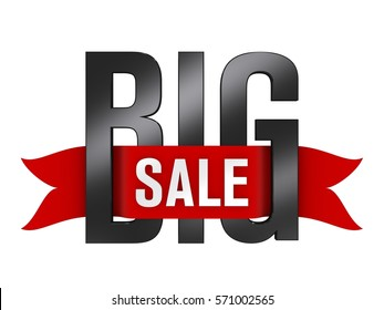 3D Illustration of Big Sale Text in Black and Red